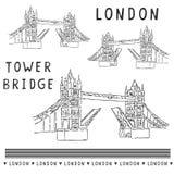 _schetsmatig Londen toren brug illustratie reeks Beroemd historisch Brits monument vector illustratie
