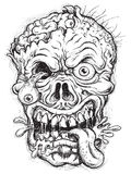 Schetsmatig Zombiehoofd royalty-vrije illustratie