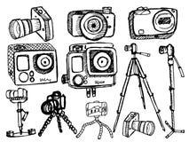 Schetsmatige camera's op witte achtergrond Stock Foto