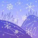 Schetsmatige de winterachtergrond Stock Afbeelding