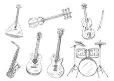 Schetsmatige muzikale instrumenten voor kunstenontwerp Stock Afbeelding