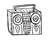 Schetsmatige radio op witte achtergrond royalty-vrije illustratie