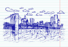 Schetsmatige stad op voorbeeldenboekachtergrond Stock Foto