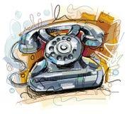 Schetsmatige Telefoon op Wit Stock Foto