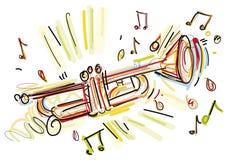 Schetsmatige Trompet Stock Foto's