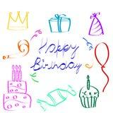 Schetsmatige verjaardagspictogrammen Stock Foto