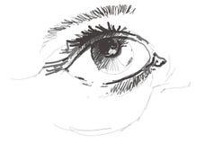 Schetsmatige vrouwelijke ogen Stock Foto