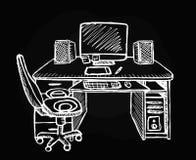 Schetsmatige werkplaats op zwarte achtergrond vector illustratie