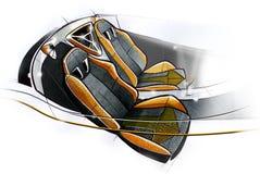 Schetsontwerp van het moderne conceptuele binnenland van een auto van de sportencoupé Illustratie Stock Fotografie