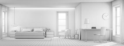 Schetsontwerp van slaapkamer en woonkamer in luxehuis, Modern binnenland van huisbureau Stock Fotografie