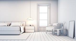 Schetsontwerp van slaapkamer en woonkamer in modern huis Stock Afbeelding