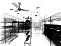 Schetsontwerp van supermarkt Royalty-vrije Stock Afbeelding