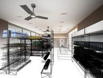Schetsontwerp van supermarkt Stock Afbeeldingen
