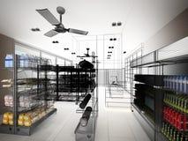 Schetsontwerp van supermarkt Stock Afbeelding