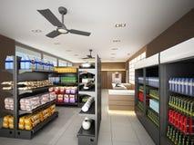 Schetsontwerp van supermarkt Stock Foto