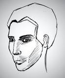 Schetsportret van een mens. Vectorillustratie Stock Fotografie
