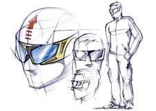Schetsproject van conceptuele beschermende glazen voor actieve sporten royalty-vrije illustratie