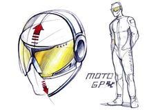 Schetsproject van conceptuele beschermende glazen voor actieve sporten stock illustratie