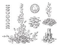 Schetsreeks muntstukken in verschillende posities Oud muntstuk, dalende dollars, stapel van contant geld, stapel van geld Rebecca stock illustratie