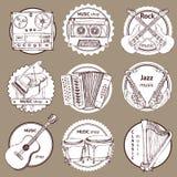 Schetsreeks van embleem met muzikale instrumenten royalty-vrije illustratie