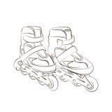 Schetsrolschaatsen vector illustratie
