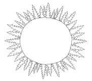 Schetsronde van net bomenkader in cirkel die drie bladen in rond trekken op de planeet Plaats voor tekst Getrokken hand Royalty-vrije Stock Foto's