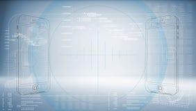 Schetssmartphone op een high-tech blauwe achtergrond Royalty-vrije Stock Afbeeldingen