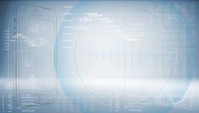 Schetssmartphone op een high-tech blauwe achtergrond Stock Afbeelding