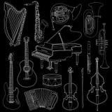 Schetst de hand getrokken krabbel, muzikale instrumenten Vector geplaatste pictogrammen Royalty-vrije Stock Foto