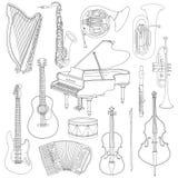 Schetst de hand getrokken krabbel, muzikale instrumenten Vector geplaatste pictogrammen Stock Afbeeldingen