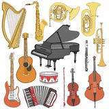Schetst de hand getrokken krabbel, muzikale instrumenten Vector geplaatste pictogrammen Royalty-vrije Stock Foto's