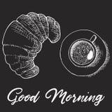 Schetstekening van Frans ontbijt - mand met croissant, koffiekop, aardbei en hand geschreven het van letters voorzien Goedemorgen royalty-vrije illustratie
