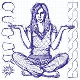 Schetsvrouw in Lotus Pose With Open Hands Royalty-vrije Stock Afbeelding