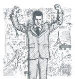Schetszakenman With Hands Up tegen Love Story-Achtergrond 0 stock illustratie