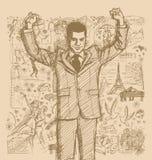 Schetszakenman With Hands Up tegen Love Story-Achtergrond stock illustratie