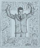 Schetszakenman With Hands Up tegen Love Story-Achtergrond royalty-vrije illustratie