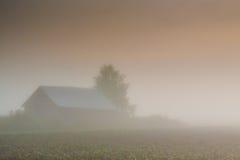 Scheune im schweren Nebel Stockfotos