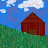 Scheune mit Gras und Himmel stockbilder