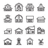 Scheunen- u. Wirtschaftsgebäudeikone in der dünnen Linie Art Stockfoto