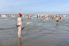 New year dive hesitation at Scheveningen 2018 royalty free stock images