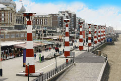 Scheveningen Lighthouses, The Hague. Giant Beamers to show movies and animations on the floor at night, The Hague, Netherlands royalty free stock image