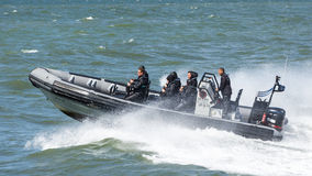 SCHEVENINGEN, NETHERLANDS, May 30, 2015: high speed jet boat ride Royalty Free Stock Photo