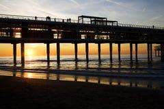 Scheveningen pier. Sunset on Dutch seaside, Scheveningen Royalty Free Stock Photo