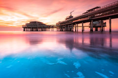 Scheveningen Pier at sunset. In The Hague, The Netherlands Royalty Free Stock Photography