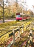 Scheveningsweg Tram in Autumn, The Hague stock photos