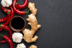 Free Schezwan Sauce Ingredients At Dark Slate Background With Copy Space. Schezwan Sauce Is Indo-chinese Or Sichuan Cuisine Hot Sauce Stock Images - 159221354