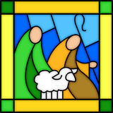 Schäferhunde im Buntglas Stockbild