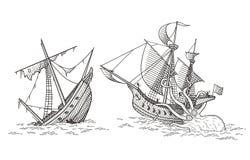 Schiacciamento delle navi Immagini Stock