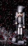 Schiaccianoci d'argento e nere di Natale Immagini Stock Libere da Diritti