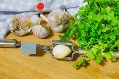 Schiacciare aglio per aggiungere al piatto Intero ed aglio tagliato su un tagliere fatto dalla quercia naturale Prezzemolo fresco Fotografia Stock